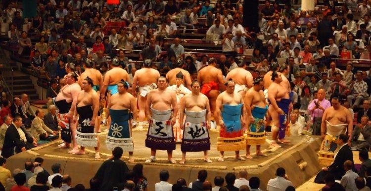 Sumo wrestlers in Japan