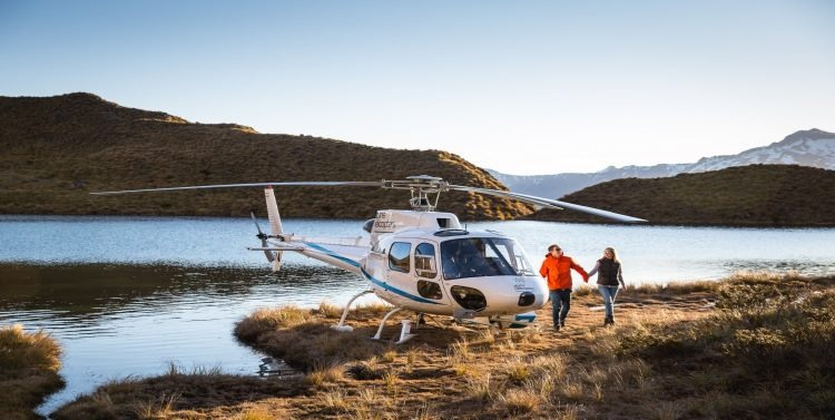 Helicopter trip for couple of remote New Zealand landscape