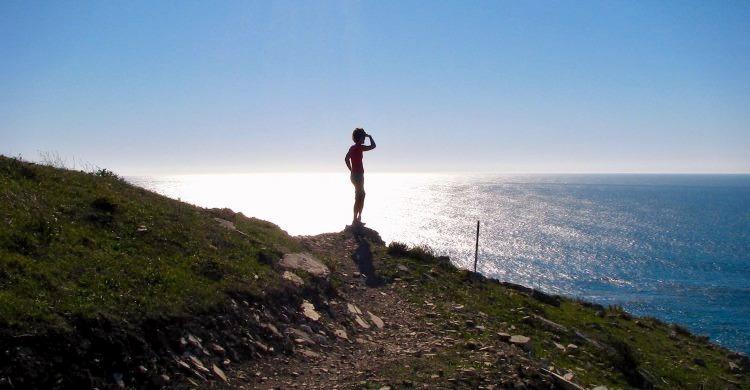 Person overlooking Big Sur coastline