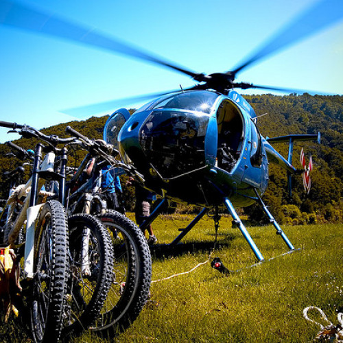 Helicopter and mountain bikes at Mount Everest