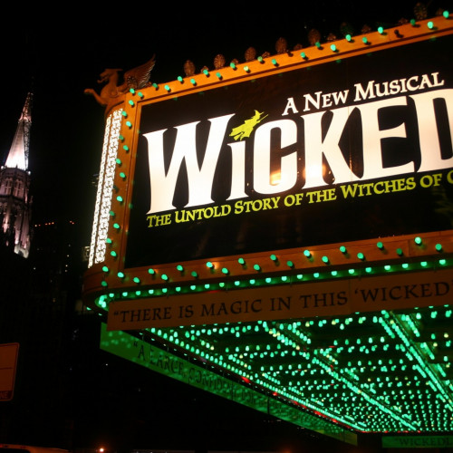 Lights and theatre sign for Wicked the musical on Broadway, New York