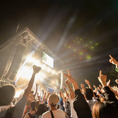 Music fans at Fuji Rocks festival in Japan