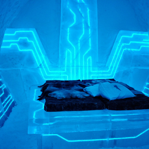 Bed at the Swedish Ice Hotel