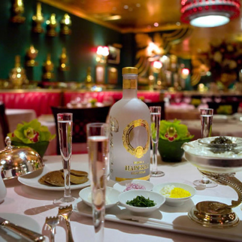 vodka in centre of elaborate dining table at the Russian Tea Rooms