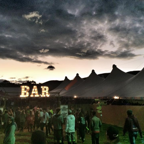 Bar tent and festival-goers at Splashy Fen Festival