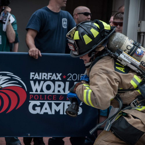 Firefighter competing at the World police and Fire Games