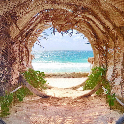View through palm tree fronts creating a circle and the sea and sand beyond on Pablo Escobar's Private Estate