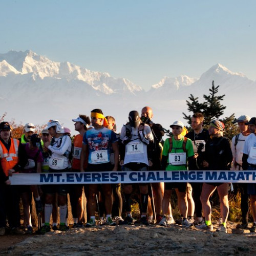 Runners on the start line at the Mount Everest marathon