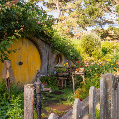 hobbit hole door and garden in Hobbiton