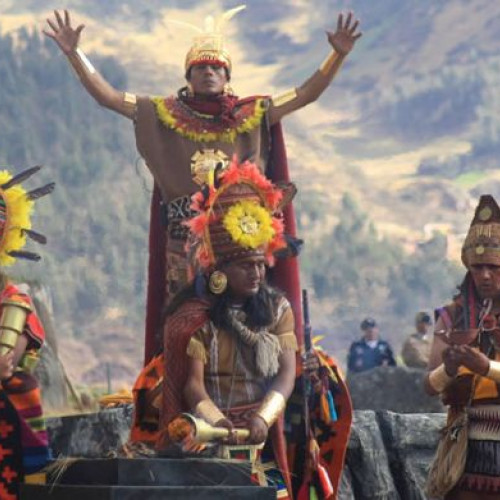 Costumed performers enacting rituals at the Inca Festival of the sun