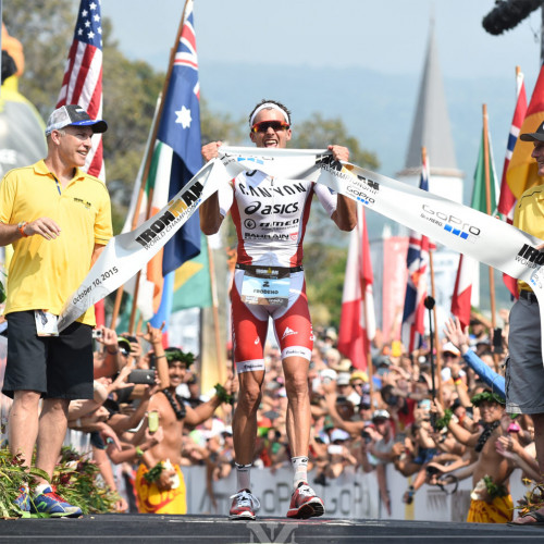 Winner of the Iron Man World Championships crossing the finish line
