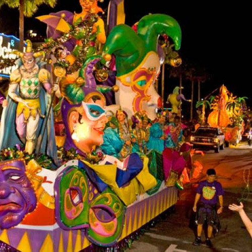Colourful float at New Orleans Mardi Gras