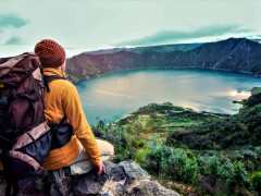 Backpacker Enjoying The View on a Luxury Galápagos and Machu Picchu Tour