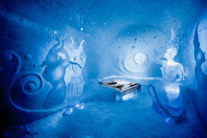 Ice sculptures and curved carvings at the Ice Hotel, Sweden