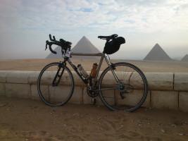 Bike bike Egyptian pyramids in the background