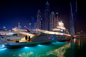 lit up yachts at Dubai International Boat Show