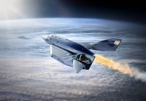 Virgin Galactic Spaceship Orbiting The Earth