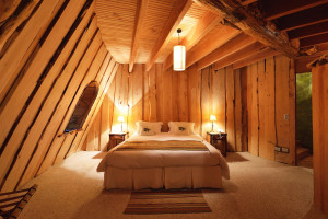 beautiful wooden magic mountain lodge bedroom