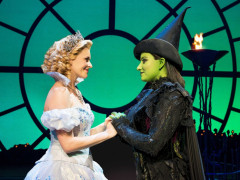 Actors playing Belinda the Good Witch and Elphaba on stage in Wicked the Musical, Broadway, New York