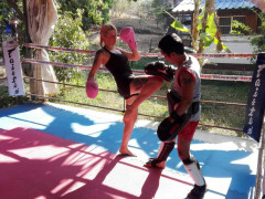 Thai boxing and kickboxing sparing session between two fighters