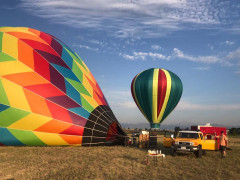 Rocky Mountain Hot Air Balloon Ride Preparing for Takeoff