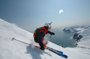 Skier with mountains in background in Kamchatka