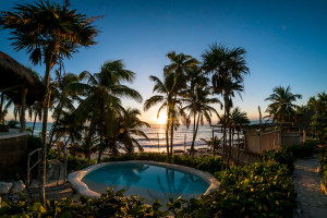 Swimming pool surrounded by palm trees and sunset at Papaya Playa Project